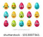 easter eggs emoji set. cute... | Shutterstock .eps vector #1013007361