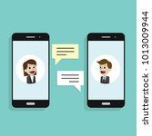 concept of a mobile chat or... | Shutterstock .eps vector #1013009944