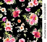 seamless summer pattern with... | Shutterstock . vector #1013010859