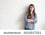 young attractive woman wearing... | Shutterstock . vector #1013017321