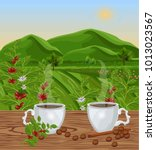 two cups of coffee with...   Shutterstock .eps vector #1013023567