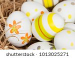 colorful hand painted easter... | Shutterstock . vector #1013025271