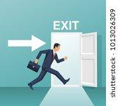 businessman runs into open door.... | Shutterstock .eps vector #1013026309