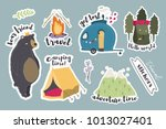 camping stickers. hand drawn... | Shutterstock .eps vector #1013027401