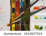 well used artists watercolour... | Shutterstock . vector #1013027515
