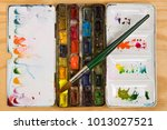 well used artists watercolour... | Shutterstock . vector #1013027521