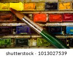 well used artists watercolour... | Shutterstock . vector #1013027539