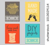 arts and crafts sewing cards ... | Shutterstock . vector #1013029114