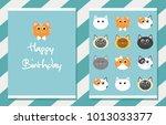 cute happy birthday card.... | Shutterstock .eps vector #1013033377