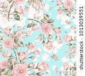 watercolor seamless rose... | Shutterstock . vector #1013039551