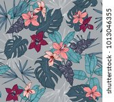 tropical plants  flowers and... | Shutterstock .eps vector #1013046355