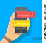 chat messages notification on... | Shutterstock .eps vector #1013047384