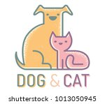 vector flat logo with cat and... | Shutterstock .eps vector #1013050945