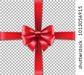 red bow in transparent... | Shutterstock .eps vector #1013056915