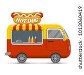 hot dog street food caravan... | Shutterstock . vector #1013060419