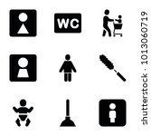 toilet icons. set of 9 editable ... | Shutterstock .eps vector #1013060719