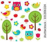 Vector Set   Owls  Birds ...