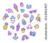 set of cartoon funny patches.... | Shutterstock .eps vector #1013061907