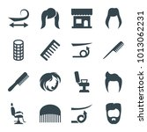 haircut icons. set of 16... | Shutterstock .eps vector #1013062231