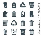 waste icons. set of 16 editable ... | Shutterstock .eps vector #1013064019