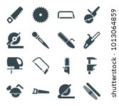 saw icons. set of 16 editable...