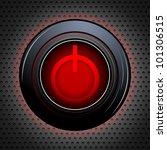 illustration of power button on metallic textured background - stock vector
