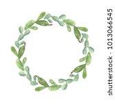 watercolor cactus cacti wreath... | Shutterstock . vector #1013066545