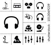dj icons. set of 13 editable... | Shutterstock .eps vector #1013069239