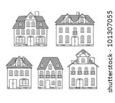 old hand drawing houses... | Shutterstock .eps vector #101307055