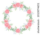 wreath with peony. watercolor... | Shutterstock . vector #1013074651