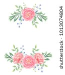 frame with peony bouquet....   Shutterstock . vector #1013074804