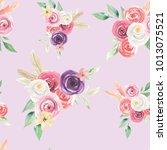 watercolor flowers seamless... | Shutterstock . vector #1013075521