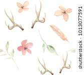watercolor antlers flowers... | Shutterstock . vector #1013077591