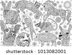 nine animals coloring book page | Shutterstock .eps vector #1013082001