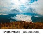 high mountains peaks range... | Shutterstock . vector #1013083081