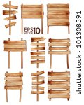 collection of vector wooden... | Shutterstock .eps vector #101308591