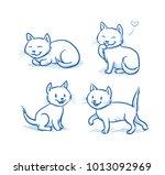 cute cartoon cat kittens...   Shutterstock .eps vector #1013092969
