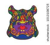 ornament face of hippopotamus... | Shutterstock .eps vector #1013108725