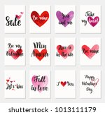 set of happy valentine's day... | Shutterstock .eps vector #1013111179