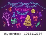 set of party colorful neon... | Shutterstock .eps vector #1013112199