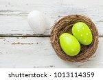 an easter nest with green... | Shutterstock . vector #1013114359