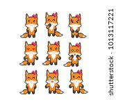 fox emoji icons set. pixel art. ... | Shutterstock .eps vector #1013117221