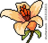 vector pixel art flower bloom... | Shutterstock .eps vector #1013118211