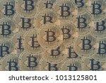 many golden bitcoins coins. can ...   Shutterstock . vector #1013125801