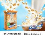 oat flakes advertising poster... | Shutterstock . vector #1013126137