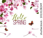 spring background with blooming ... | Shutterstock .eps vector #1013128249