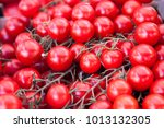 small red tomatoes harvest on... | Shutterstock . vector #1013132305