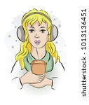 a girl with headphones and... | Shutterstock .eps vector #1013136451