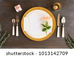 tableware   set of plates and... | Shutterstock . vector #1013142709