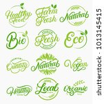 set of organic  local  fresh ... | Shutterstock . vector #1013145415